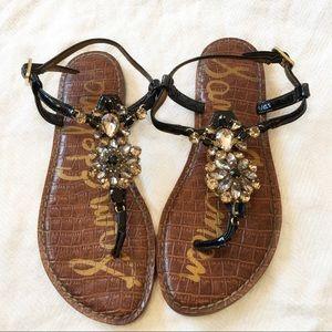 [SAMEDELMAN] Bedazzled floral gem flip flop sandal